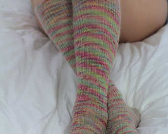 MOTTLED - Pink/Green SILK/Mohair Bed Socks Knee High - Hand Cranked - Autumn - Soft and Silky Socks - Fall/Autumn Socks - Woodland -Country