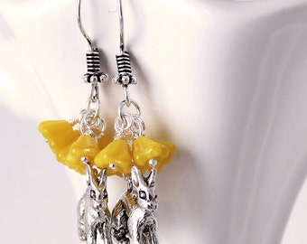 Yellow Rabbit Earrings - Bunny Rabbit Charms, Cluster Earrings, Lemon Czech Glass Bell Flower Beads, Antique Silver Hook Earwires
