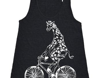 Giraffe On Bicycle Tank Top - Women's Tri Blend Racerback Tank Top - White Print - SEEMBO