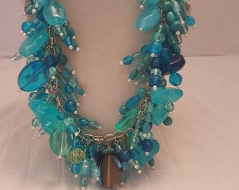 Teal Necklace Teal Chunky Necklace Teal Bib Necklace Chunky Necklace Bib Necklace One Of A Kind Necklace Statement Necklace Bridesmaid Gift