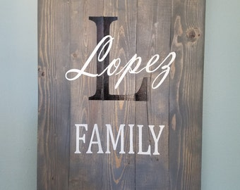 Wooden Hand Painted Family Established Sign