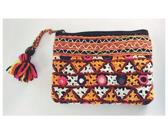 Orange & Pink Afghan Coin Card Purse with Woodblock Lining and Colourful Tassel