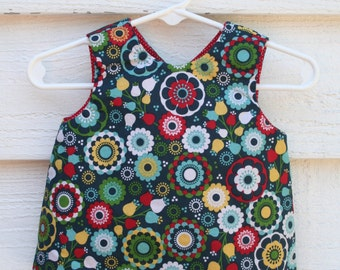 Reversible dress, retro flowers, reversible pinafore, baby girl dress, diaper cover, baby girl clothes, ready to ship