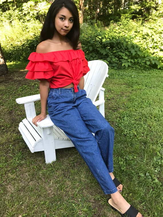 Dark Blue Jeans / Baggy Jeans / Elastic Waist Jeans / tapered leg jeans / 26 27 28