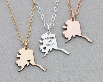 Alaska State • Jewelry Alaska Necklace • Map Necklace • Personalize State Jewelry Rose Gold State Charm Going Away Gift • Friend