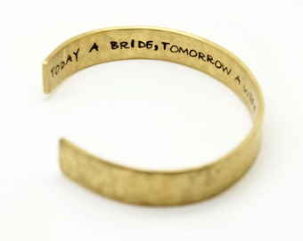 Mother of the Bride Cuff Bracelet, Personalized, Hand Stamped, Mothers Day, Wedding, Bridesmaids, Maid of Honor Gift