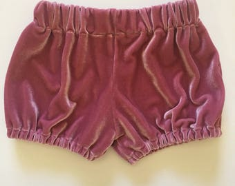 Dusty Rose Velvet bloomers- baby bloomers- todder bloomers- diaper covers- ready to ship(RTS)