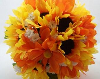 Bridal Bouquet Sunflowers, Orange Yellow, Rustic Fall Woodland Wedding