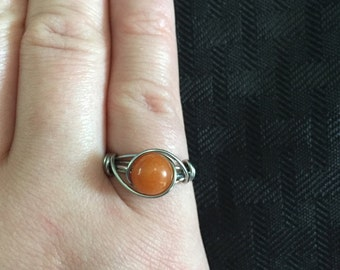 Peach Aventurine Wire Wrapped Ring