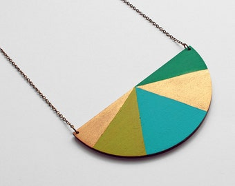 Half circle geometric wooden necklace - turquoise, gold, green colors - minimalist, modern jewelry - color blocking