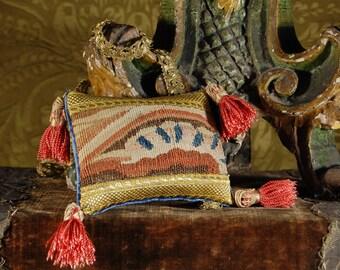 Antique 18th century Aubusson tapestry, pin cushion, ring pillow, pink silk tassel trim