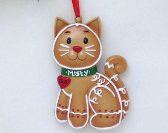 Personalized Christmas Ornament - Gingerbread Cat - custom name or message