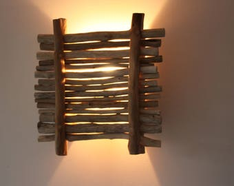 Applique driftwood, wall decor, room divider with wood, 100% recycling