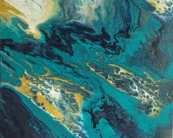 Acrylic on Canvas - Mystic Deep Blue Sea