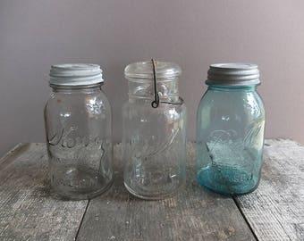 Vintage Quart-Size Mason Jar - You Choose One / Vintage Ball Jar with Zinc Lid / Vintage Mason Jar / Blue Ball Jar