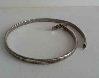 "Narrow Silver Belt / Skinny Stretchy Belt / Thin Belt 26"" to 29"""