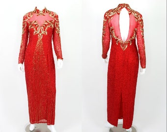 Vintage Red Sequin Dress Plus Size 14 Backless L/S Gold Formal Prom Pageant