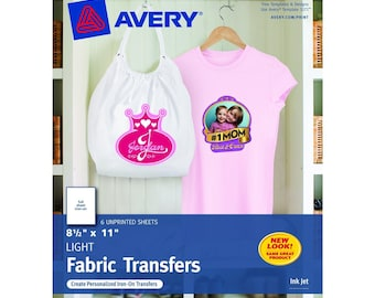 Avery T-shirt Transfers for Inkjet Printers 8.5 x 11 Inches for use with White or Light Colored Fabric 6 Sheets USA SELLER