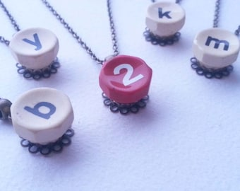INITIAL HERE - Lowercase Antique Typewriter Key Pendant Necklace - Only M left