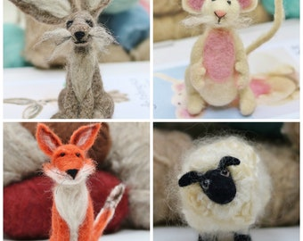 Needle Felting Kit x 2, Choose from 19 animal needle felting kits for beginners onward, Perfect gift for crafty friends and family.