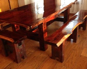 Cedar Table, Rustic Table, Farm Table, Live Edge Table, Cedar Dining Set, Trestle Style Table, Dining Table