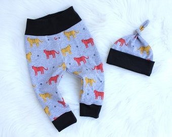 Tiger Baby Leggings - Baby Tiger Outfit - Baby Boy Coming Home Outfit - Baby Boy Leggings Outfit - Modern Baby Clothing - Hipster Baby
