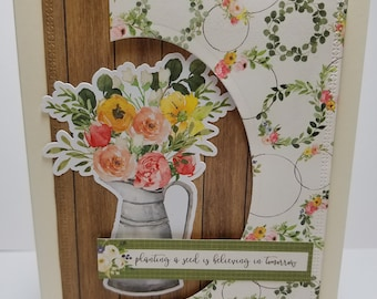 Handmade All Occasion Card, Flowers, Encouragement