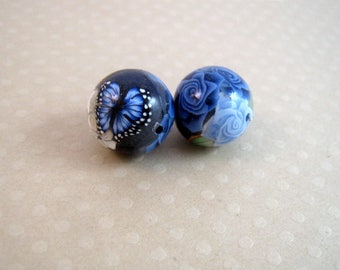 Set of 2 Navy Blue 12 mm - 0214 FPR fimo round beads