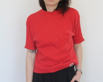 red thermal tee