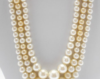 Triple Strand Faux Pearl Necklace (3317) (BP) 7mm-12mm