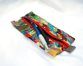 Superhero Pencil Case - Marvel Comics, Amazing Spiderman, Avengers- School Supplies