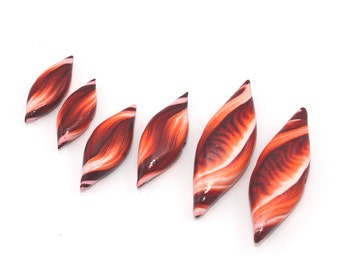 Coral orange spiral beads for jewelry making DIY craft supplies gift for women for girls handmade polymer clay beads for necklace, 6pcs var.