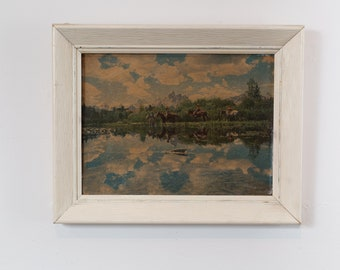 Vintage Cowboy Print - Framed Artwork of Men on Horses in the Country Mountains with River and Reflection