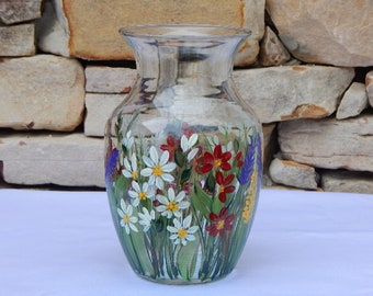 Hand Painted Glass Vase with Wild Flowers