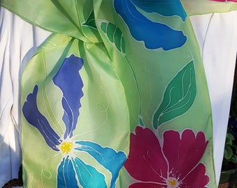 Silk Scarf -  Hand Dyed Silk Scarf - Bold Flowers - Dress Accessory - Floral Design - Lite Green - Purples and Pinks - Great Gift Idea