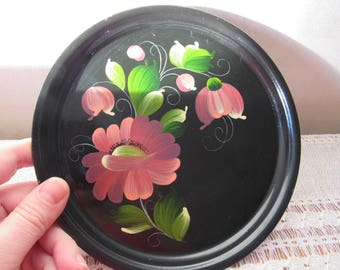 Hand painted metal tray, Vintage Small Round Metal Serving Tray, Black Metal Serving Tray, Hand Painted pattern, Russian style flower Decor