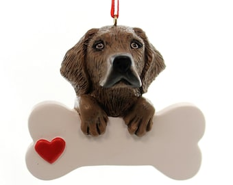 Chocolate Labrador Personalized Christmas Ornament, Ornament, Chocolate Lab, Lab, Personalized, Labrador