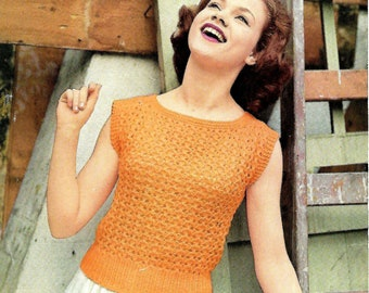 LEE TARGET 1502 Ladies Jumper  Vintage Knitting Pattern PDF Instant Download
