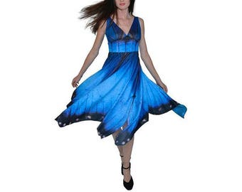 Blue Morhpo Butterfly Dress