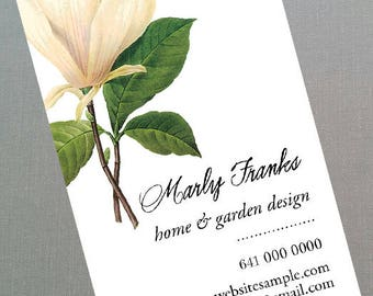 Business Card with Antique Magnolia Flower, Set of 50