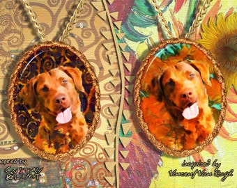 Chesapeake Bay Retriever Jewelry Pendant - Brooch Handcrafted Porcelain by Nobility Dogs - Gustav Klimt and Van Gogh