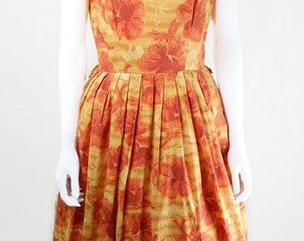 Vintage 1950s Orange and Yellow Floral Swing Dress UK Size 10