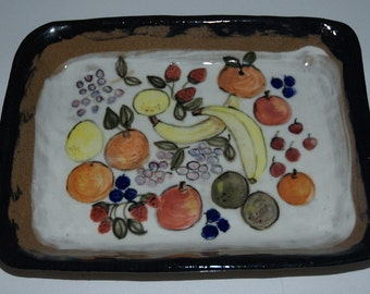 Stoneware Casserole Dish with Painted Fruit