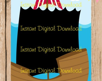 Pirate Ship  Digital Blank Invitation template . Digital File. 5 x 7 inches. JPG. DIY Instant Download. Fill in blanks.