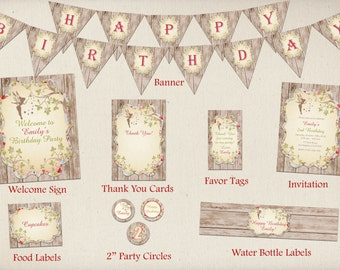 Woodland Fairy Birthday Party Package, Enchanted Forest Birthday Party Package, Fairy Garden Party Package, Fairy Garden Party Package