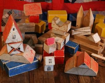 Antique Vintage Wooden Building Blocks Primitive