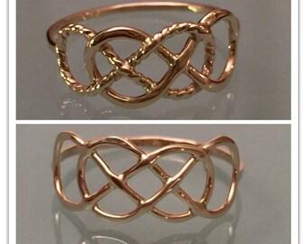 14k Double Infinity Ring, 14k Infinity Ring, 14k Thumb Ring, 14k Knuckle Ring, 14k Engagement Ring, 14k Gold Ring, 14k Promise Ring