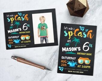 Splash Party Birthday Invitation, Summer Pool Party Printable Invite, Kids Water Birthday Party Invite, Water Park Birthday Invitation