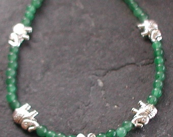 Jade Gemstones Lucky Elephant Charm Anklet Ankle Bracelet