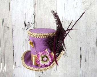 Lavender and Toffee Velvet Flower and Plume Medium Mini Top Hat Fascinator, Alice in Wonderland, Mad Hatter Tea Party, Derby Hat
